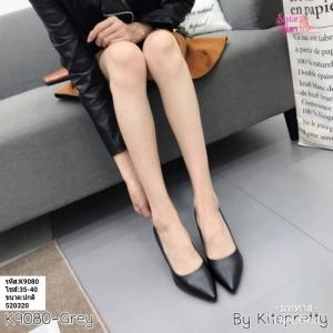 พร้อมส่ง รองเท้าคัชชูผู้หญิง หนังลายวัว K9080-BLK [สีดำ]