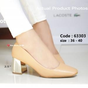 พร้อมส่ง รองเท้าคัทชูส้นตันสีแอปริคอท แต่งเมทาลิกสีทอง Chunky Shoes แฟชั่นเกาหลี [สีแอปริคอท ]