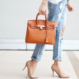 กระเป๋าถือ กระเป๋าคลัทช์ หนังพียู Birkin PU [สีส้ม ]