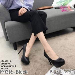 พร้อมส่ง รองเท้าคัชชูงานเกาหลีนำเข้า K9316-BLK [สีดำ]