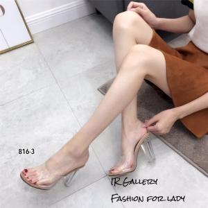 พร้อมส่ง รองเท้าส้นสูง แบบสวม หน้าใสส้นใส 816-3-กากี [สีกากี]