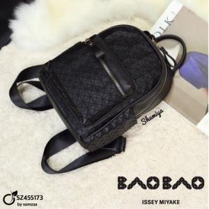 กระเป๋าเป้ผู้หญิง กระเป๋าสะพายหลังแฟชั่น BAO BAO ISSEY MIYAKE [สีดำ ]