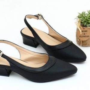 พร้อมส่ง รองเท้าคัชชูรัดส้นเปิดท้าย TW0069-BLK [สีดำ]