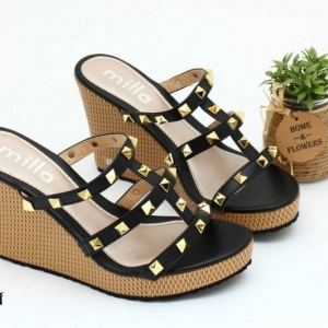พร้อมส่ง รองเท้าส้นเตารีดแบบสวมสวยเท่ 13-57-BLK [สีดำ]