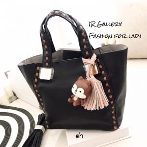 กระเป๋าสะพายแฟชั่น กระเป๋าสะพายข้างผู้หญิง นังนิ่มคุณภาพพรีเมี่ยมงานสวยเหมือนหนังแท้ ดีไซน์สไตล์เกาหลี ไซส์ M [สีดำ ]