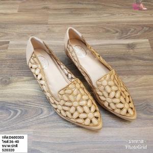 พร้อมส่ง รองเท้าคัชชูส้นเหลี่ยม D600303-BRN [สีน้ำตาล]