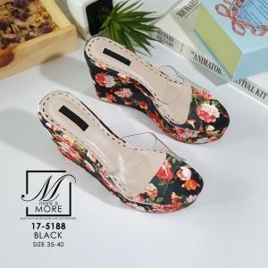 พร้อมส่ง รองเท้าส้นเตารีดลายดอกไม้สีดำ สไตล์วินเทจ สายคาดพลาสติกใส แฟชั่นเกาหลี [สีดำ ]