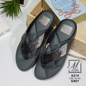 พร้อมส่ง รองเท้าพื้นสุขภาพสีเทา ทรงแบบหน้าคี สไตล์แบรนด์ดัง แฟชั่นเกาหลี [สีเทา ]