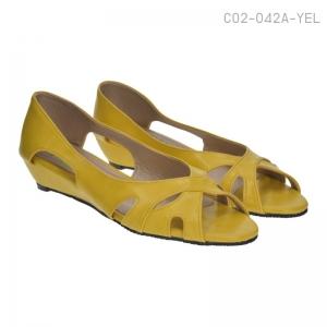 พร้อมส่ง รองเท้าส้นเตี้ย C02-042A-YEL [สีเหลือง]