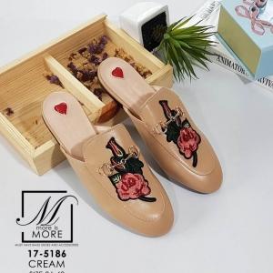 พร้อมส่ง รองเท้าส้นแบนเปิดส้นสีครีม style แบรนด์ Gucci แฟชั่นเกาหลี [สีครีม ]