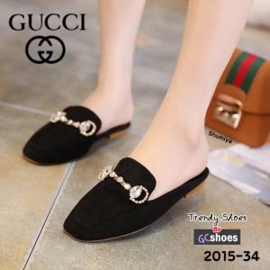 พร้อมส่ง รองเท้าส้นแบนแฟชั่นสีดำ เปิดส้น STYLE GUCCI แฟชั่นเกาหลี [สีดำ ]