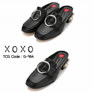 พร้อมส่ง รองเท้าส้นเตี้ยสีดำ เสริมส้นมุก สไตล์Gucci แฟชั่นเกาหลี [สีดำ ]