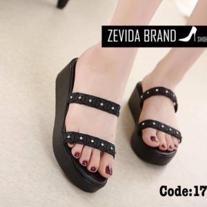 พร้อมส่ง รองเท้าแตะผู้หญิงสีดำ แบบสวม สายคาดสองตอน แฟชั่นเกาหลี [สีดำ ]