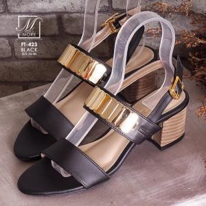 พร้อมส่ง รองเท้าส้นตันรัดส้นสีดำ สายคาดสองระดับ แต่งอะไหล่สีทอง แฟชั่นเกาหลี [สีดำ ]