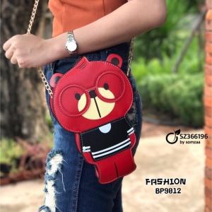 กระเป๋าสะพายแฟชั่น กระเป๋าสะพายข้างน้องหมี สะพายเก๋ๆ สีสันสดใส [สีแดง ]