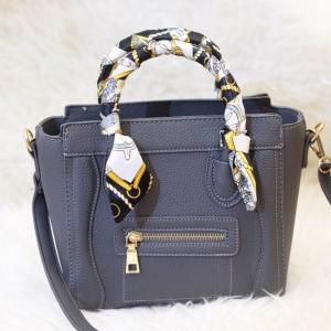 กระเป๋าสะพายแฟชั่น กระเป๋าสะพายข้างผู้หญิง ซีลีนคลาสสิค (CELINE CLASSIC) อะไหล่ทอง [สีเทาเข้ม]