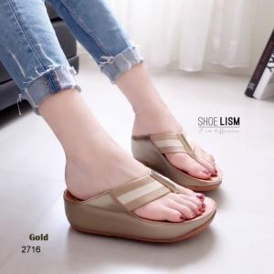 รองเท้าแตะเพื่อสุขภาพ หูหนีบ หน้าเท้าว้างใส่สบาย [สีทอง ]