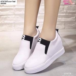 พร้อมส่ง รองเท้าผ้าใบแบบสวม ST1701-WHI [สีขาว]