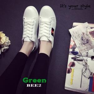 พร้อมส่ง รองเท้าผ้าใบแฟชั่นสีเขียว แถบสีเขียว สไตล์ Gucci แฟชั่นเกาหลี [สีเขียว ]