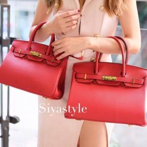 พร้อมส่ง กระเป๋าสะพายข้างผู้หญิง Birkin PU 25 cm [สีแดง ]