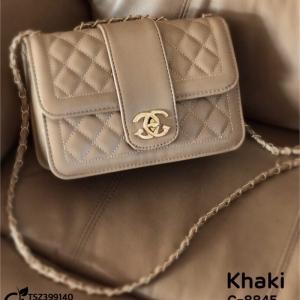 กระเป๋าสะพายแฟชั่น กระเป๋าสะพายข้างผู้หญิง สายโซ่ สไตล์ Chanel [สีกากี ]