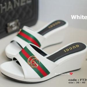 รองเท้าส้นเตารีดเปิดส้น GC Wedged Shoes [สีขาว ]