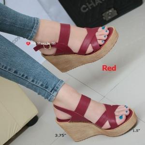 รองเท้าส้นเตารีดรัดส้น สายไขว้ กระชับเท้า [สีแดง ]