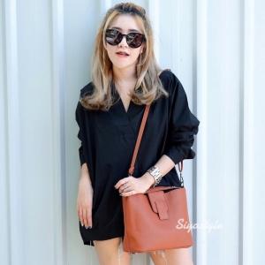 กระเป๋าสะพายแฟชั่น กระเป๋าสะพายข้างผู้หญิง กระเป๋าทรงตัวยู (อะไหล่เงิน) [สีส้ม]