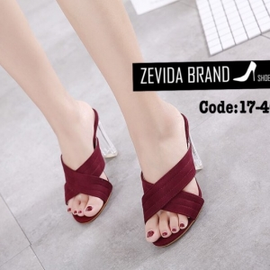 พร้อมส่ง รองเท้าส้นสูงแฟชั่นสีแดง ผ้าสักหราด ส้นแก้ว แฟชั่นเกาหลี [สีแดง ]