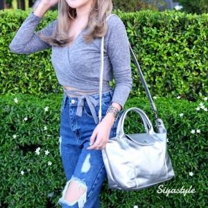 กระเป๋าสะพายแฟชั่น กระเป๋าสะพายข้างผู้หญิง ลองชอมหนัง Style [สีเงิน ]