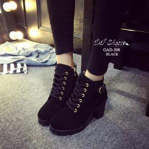 พร้อมส่ง รองเท้าบูทเกาหลีสีดำ หนังพียู ส้นตัน แฟชั่นเกาหลี [สีดำ ]