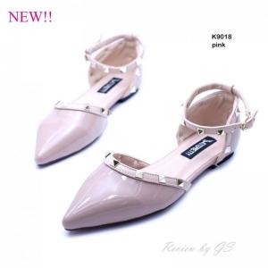 พร้อมส่ง รองเท้าส้นเตี้ย สไตล์ Valentino K9018F2-PNK [สีชมพู]