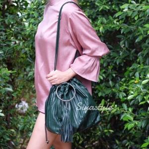 กระเป๋าสะพายแฟชั่น กระเป๋าสะพายข้างผู้หญิง อัดพีทห่วง [สีเขียว]