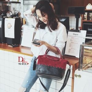 กระเป๋าถือ กระเป๋าสะพายข้างผู้หญิง หนังกลับสลับกับวัสดุหนัง PU มาพร้อมพวงกุญแจพู่ [สีแดง ]