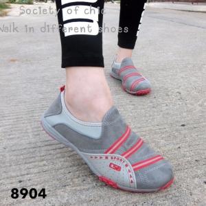 พร้อมส่ง รองเท้าผ้าใบแฟชั่นสีเทา ไร้เชือก สไตล์ Sport Girls แฟชั่นเกาหลี [สีเทา ]