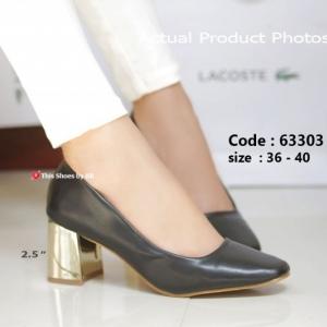 พร้อมส่ง รองเท้าคัทชูส้นตันสีดำ แต่งเมทาลิกสีทอง Chunky Shoes แฟชั่นเกาหลี [สีดำ ]