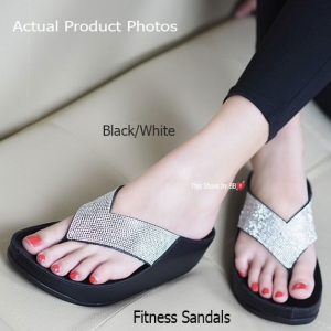 พร้อมส่ง รองเท้าแตะเพื่อสุขภาพสีดำเงิน Crystal Fitness Soft แฟชั่นเกาหลี [สีดำเงิน ]