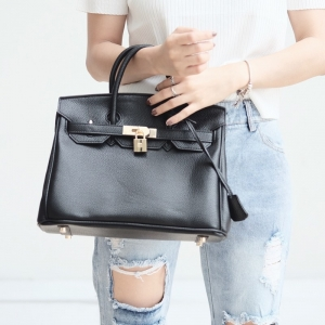 กระเป๋าถือ กระเป๋าคลัทช์ หนังพียู Birkin PU [สีดำ ]