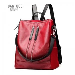 พร้อมส่ง เป้หนังผู้หญิง-BAG-003 [สีแดง]