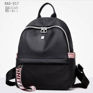 พร้อมส่ง กระเป๋าเป้ไนล่อน-BAG-017 [สีดำ/ชมพู]