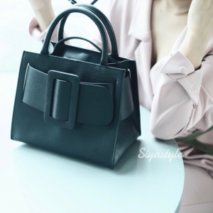 กระเป๋าถือ กระเป๋าสะพายข้างผู้หญิง งานหนังแท้ Boyy bag [สีดำ ]