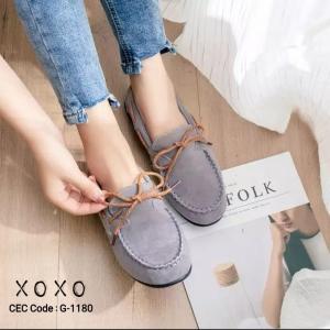 พร้อมส่ง รองเท้าคัทชูส้นแบน TOD'S เชือกผูกโบ G-1180-GRY [สีเทา]