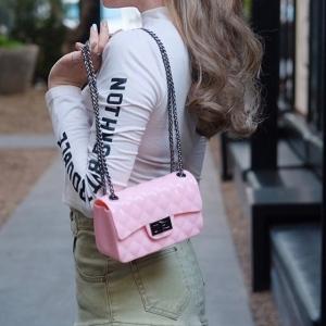 กระเป๋าสะพายแฟชั่น กระเป๋าสะพายข้างผู้หญิง งานสิลิโคนนิ่ม สายโซ่ Mini-Toy [สีชมพู ]
