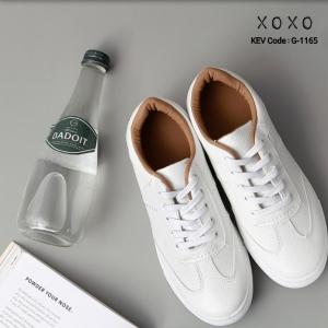 พร้อมส่ง รองเท้าผ้าใบสไตล์หนัง คล้ายหนังแกะ ด้านในน้ำตาล G-1165-BWN [สีน้ำตาล]