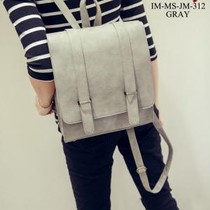 กระเป๋าเป้ผู้หญิง กระเป๋าสะพายหลังแฟชั่น สไตส์ญี่ปุ่น หนังPUคุณภาพดี [สีเทา ]