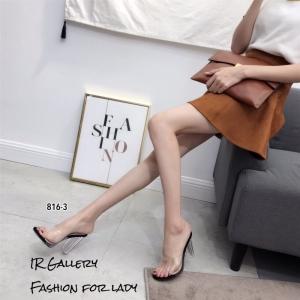 พร้อมส่ง รองเท้าส้นสูง แบบสวม หน้าใสส้นใส 816-3-ดำ [สีดำ]