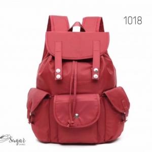 พร้อมส่ง กระเป๋าเป้ผ้าไนล่อน-1018 [สีแดง]