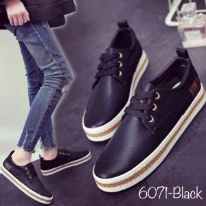 พร้อมส่ง รองเท้าผ้าใบแฟชั่น 6071-BLK [สีดำ]