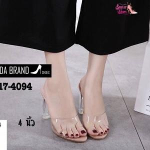 พร้อมส่ง รองเท้าส้นสูง ส้นแก้ว 17-4094-CRM [สีครีม]