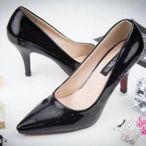 พร้อมส่ง รองเท้าคัชชูงานหนังแก้ว K23114-BLK [สีดำ]